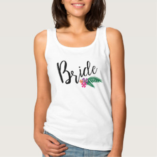 Tropical Flowers and Palm Branches Bride Tank Top