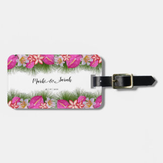 Tropical Flowers and Palm Leaves Calligraphy Luggage Tag