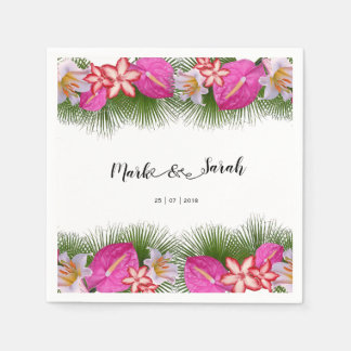 Tropical Flowers and Palm Leaves Calligraphy Paper Napkin