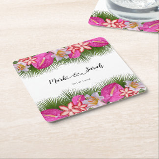 Tropical Flowers and Palm Leaves Calligraphy Square Paper Coaster