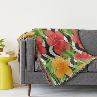 Tropical flowers and skin are animal. Summer Throw Blanket