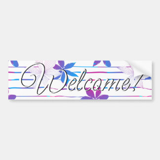Tropical flowers and stripes bumper sticker