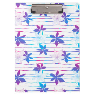 Tropical flowers and stripes clipboard
