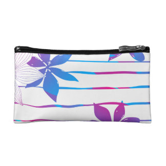Tropical flowers and stripes makeup bag
