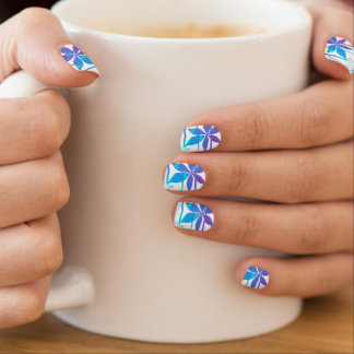 Tropical flowers and stripes minx nail art