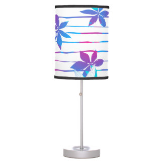 Tropical flowers and stripes table lamp