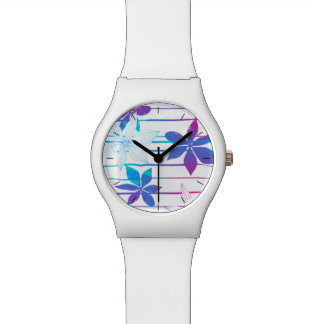 Tropical flowers and stripes wristwatch