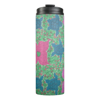 Tropical Flowers and Turtles Pattern Tumbler