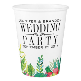 Tropical Flowers Border Paper Cup Wedding Template