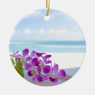 Tropical Flowers by the beach Ceramic Ornament