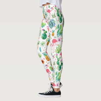 Tropical Flowers Cactus & Flamingos Pattern Leggings
