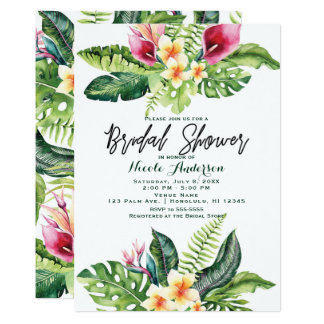 Tropical Flowers & Leaves Floral Bridal Shower Card