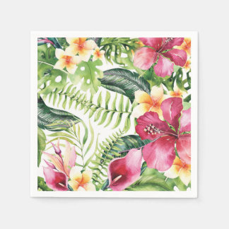 Tropical Flowers Leaves Floral Bridal Shower Party Disposable Napkins