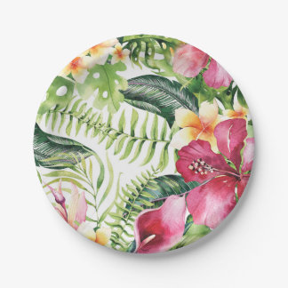 Tropical Flowers Leaves Floral Bridal Shower Party Paper Plate