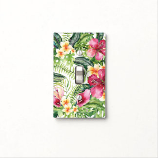 Tropical Flowers Leaves Floral Chic Tropics Light Switch Cover