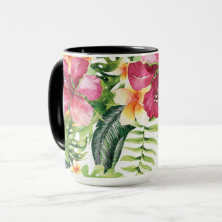 Tropical Flowers Leaves Floral Chic Tropics Mug