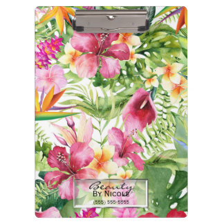 Tropical Flowers & Leaves Hawaiian Floral Custom Clipboard