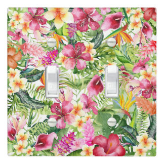 Tropical Flowers & Leaves Hawaiian Floral Light Switch Cover