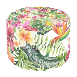 Tropical Flowers & Leaves Hawaiian Floral Pouf