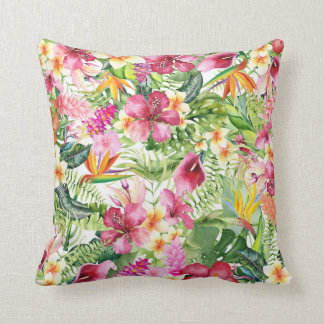 Tropical Flowers & Leaves Hawaiian Floral Throw Pillow