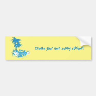 Tropical flowers, palms on a beach illustration bumper sticker