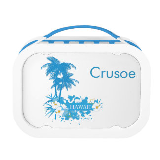 Tropical flowers, palms on a beach illustration lunch boxes