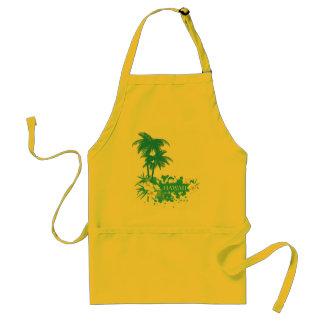 Tropical flowers, palms on a beach illustration standard apron