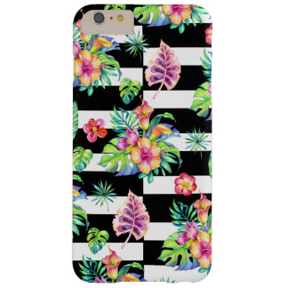 Tropical Flowers Pattern &  White Stripes GR3 Barely There iPhone 6 Plus Case