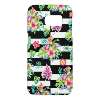 Tropical Flowers Pattern &  White Stripes Samsung Galaxy S7 Case