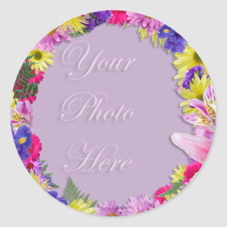 Tropical Flowers Picture Frame, Beach Wedding Classic Round Sticker