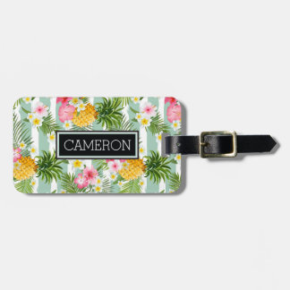 Tropical Flowers & Pineapple On Teal Stripes Bag Tag