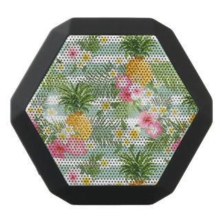 Tropical Flowers & Pineapple On Teal Stripes Black Bluetooth Speaker