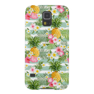 Tropical Flowers & Pineapple On Teal Stripes Case For Galaxy S5