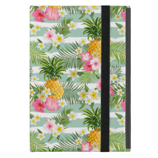 Tropical Flowers & Pineapple On Teal Stripes Case For iPad Mini