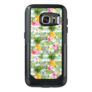 Tropical Flowers & Pineapple On Teal Stripes OtterBox Samsung Galaxy S7 Case