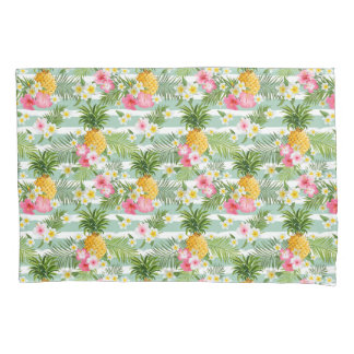 Tropical Flowers & Pineapple On Teal Stripes Pillowcase
