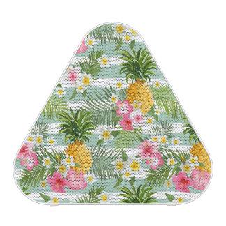 Tropical Flowers & Pineapple On Teal Stripes Speaker