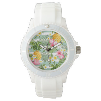 Tropical Flowers & Pineapple On Teal Stripes Wristwatch