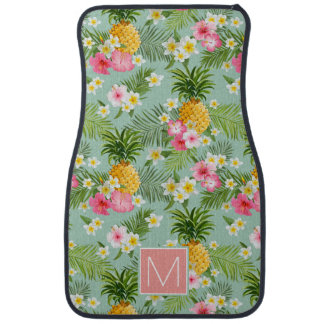 Tropical Flowers & Pineapples | Add Your Initial Auto Mat