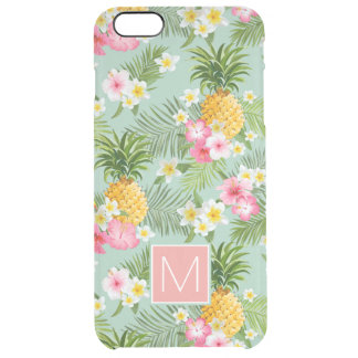 Tropical Flowers & Pineapples | Add Your Initial Clear iPhone 6 Plus Case