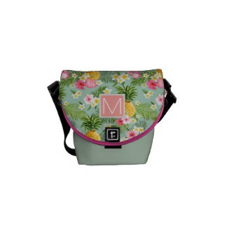 Tropical Flowers & Pineapples | Add Your Initial Courier Bags