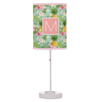 Tropical Flowers & Pineapples | Add Your Initial Desk Lamps