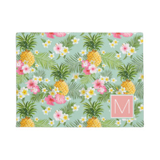 Tropical Flowers & Pineapples   Add Your Initial Doormat