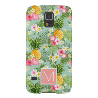 Tropical Flowers & Pineapples | Add Your Initial Galaxy S5 Covers