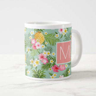 Tropical Flowers & Pineapples | Add Your Initial Giant Coffee Mug