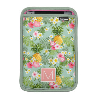 Tropical Flowers & Pineapples | Add Your Initial Sleeve For iPad Mini