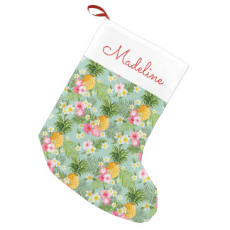 Tropical Flowers & Pineapples   Add Your Name Small Christmas Stocking