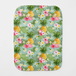 Tropical Flowers & Pineapples Baby Burp Cloths