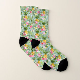 Tropical Flowers & Pineapples Socks