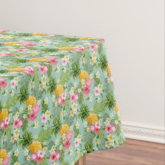 Tropical Flowers & Pineapples Tablecloth
